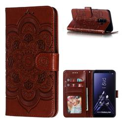 Intricate Embossing Datura Solar Leather Wallet Case for Samsung Galaxy A6 Plus (2018) - Brown