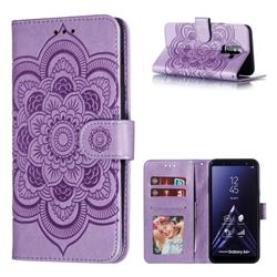 Intricate Embossing Datura Solar Leather Wallet Case for Samsung Galaxy A6 Plus (2018) - Purple