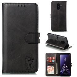 Embossing Happy Cat Leather Wallet Case for Samsung Galaxy A6 Plus (2018) - Black