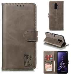 Embossing Happy Cat Leather Wallet Case for Samsung Galaxy A6 Plus (2018) - Gray