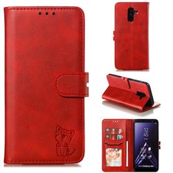 Embossing Happy Cat Leather Wallet Case for Samsung Galaxy A6 Plus (2018) - Red