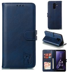 Embossing Happy Cat Leather Wallet Case for Samsung Galaxy A6 Plus (2018) - Blue