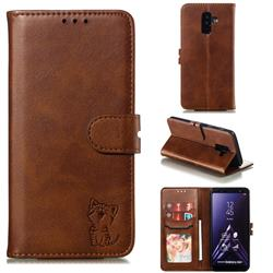 Embossing Happy Cat Leather Wallet Case for Samsung Galaxy A6 Plus (2018) - Brown