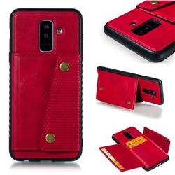Retro Multifunction Card Slots Stand Leather Coated Phone Back Cover for Samsung Galaxy A6 Plus (2018) - Red