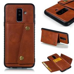 Retro Multifunction Card Slots Stand Leather Coated Phone Back Cover for Samsung Galaxy A6 Plus (2018) - Brown
