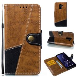 Retro Magnetic Stitching Wallet Flip Cover for Samsung Galaxy A6 Plus (2018) - Brown