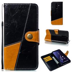 Retro Magnetic Stitching Wallet Flip Cover for Samsung Galaxy A6 Plus (2018) - Black