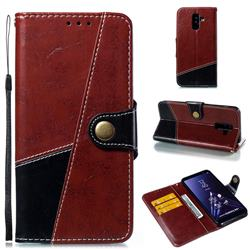 Retro Magnetic Stitching Wallet Flip Cover for Samsung Galaxy A6 Plus (2018) - Dark Red