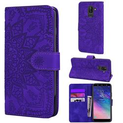 Retro Embossing Mandala Flower Leather Wallet Case for Samsung Galaxy A6 Plus (2018) - Purple