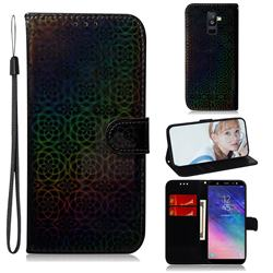 Laser Circle Shining Leather Wallet Phone Case for Samsung Galaxy A6 Plus (2018) - Black