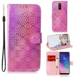 Laser Circle Shining Leather Wallet Phone Case for Samsung Galaxy A6 Plus (2018) - Pink