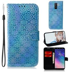 Laser Circle Shining Leather Wallet Phone Case for Samsung Galaxy A6 Plus (2018) - Blue