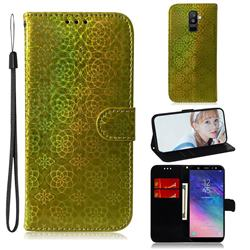 Laser Circle Shining Leather Wallet Phone Case for Samsung Galaxy A6 Plus (2018) - Golden