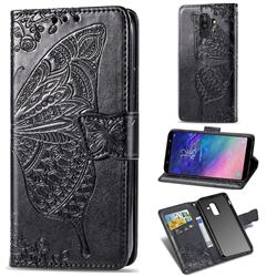 Embossing Mandala Flower Butterfly Leather Wallet Case for Samsung Galaxy A6 Plus (2018) - Black