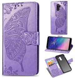 Embossing Mandala Flower Butterfly Leather Wallet Case for Samsung Galaxy A6 Plus (2018) - Light Purple
