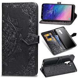 Embossing Imprint Mandala Flower Leather Wallet Case for Samsung Galaxy A6 Plus (2018) - Black
