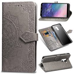 Embossing Imprint Mandala Flower Leather Wallet Case for Samsung Galaxy A6 Plus (2018) - Gray