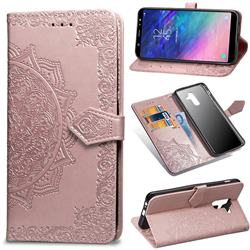 Embossing Imprint Mandala Flower Leather Wallet Case for Samsung Galaxy A6 Plus (2018) - Rose Gold
