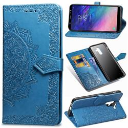 Embossing Imprint Mandala Flower Leather Wallet Case for Samsung Galaxy A6 Plus (2018) - Blue