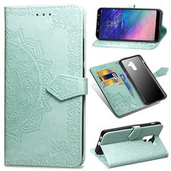 Embossing Imprint Mandala Flower Leather Wallet Case for Samsung Galaxy A6 Plus (2018) - Green
