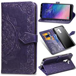Embossing Imprint Mandala Flower Leather Wallet Case for Samsung Galaxy A6 Plus (2018) - Purple