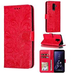 Intricate Embossing Lace Jasmine Flower Leather Wallet Case for Samsung Galaxy A6 Plus (2018) - Red
