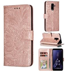 Intricate Embossing Lace Jasmine Flower Leather Wallet Case for Samsung Galaxy A6 Plus (2018) - Rose Gold