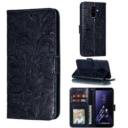 Intricate Embossing Lace Jasmine Flower Leather Wallet Case for Samsung Galaxy A6 Plus (2018) - Dark Blue