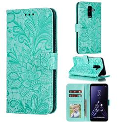 Intricate Embossing Lace Jasmine Flower Leather Wallet Case for Samsung Galaxy A6 Plus (2018) - Green