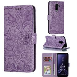 Intricate Embossing Lace Jasmine Flower Leather Wallet Case for Samsung Galaxy A6 Plus (2018) - Purple