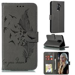 Intricate Embossing Lychee Feather Bird Leather Wallet Case for Samsung Galaxy A6 Plus (2018) - Gray
