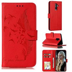 Intricate Embossing Lychee Feather Bird Leather Wallet Case for Samsung Galaxy A6 Plus (2018) - Red