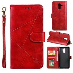 Embossing Geometric Leather Wallet Case for Samsung Galaxy A6 Plus (2018) - Red