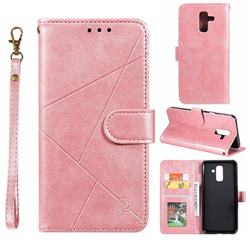 Embossing Geometric Leather Wallet Case for Samsung Galaxy A6 Plus (2018) - Rose Gold