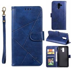 Embossing Geometric Leather Wallet Case for Samsung Galaxy A6 Plus (2018) - Blue