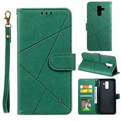 Embossing Geometric Leather Wallet Case for Samsung Galaxy A6 Plus (2018) - Green