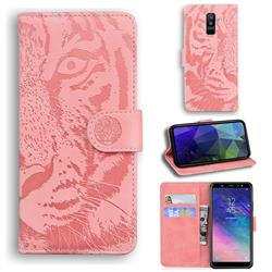 Intricate Embossing Tiger Face Leather Wallet Case for Samsung Galaxy A6 Plus (2018) - Pink