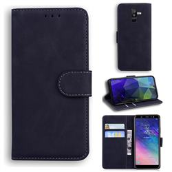 Retro Classic Skin Feel Leather Wallet Phone Case for Samsung Galaxy A6 Plus (2018) - Black