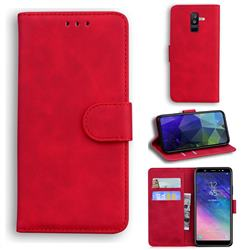 Retro Classic Skin Feel Leather Wallet Phone Case for Samsung Galaxy A6 Plus (2018) - Red