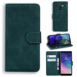 Retro Classic Skin Feel Leather Wallet Phone Case for Samsung Galaxy A6 Plus (2018) - Green