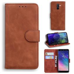 Retro Classic Skin Feel Leather Wallet Phone Case for Samsung Galaxy A6 Plus (2018) - Brown