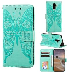 Intricate Embossing Rose Flower Butterfly Leather Wallet Case for Samsung Galaxy A6 Plus (2018) - Green