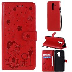 Embossing Bee and Cat Leather Wallet Case for Samsung Galaxy A6 Plus (2018) - Red