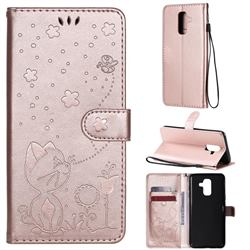 Embossing Bee and Cat Leather Wallet Case for Samsung Galaxy A6 Plus (2018) - Rose Gold