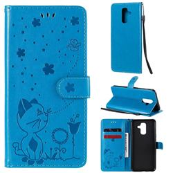 Embossing Bee and Cat Leather Wallet Case for Samsung Galaxy A6 Plus (2018) - Blue