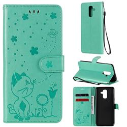 Embossing Bee and Cat Leather Wallet Case for Samsung Galaxy A6 Plus (2018) - Green