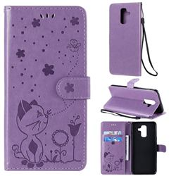 Embossing Bee and Cat Leather Wallet Case for Samsung Galaxy A6 Plus (2018) - Purple