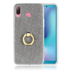 Luxury Soft TPU Glitter Back Ring Cover with 360 Rotate Finger Holder Buckle for Samsung Galaxy A6s - Black