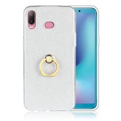 Luxury Soft TPU Glitter Back Ring Cover with 360 Rotate Finger Holder Buckle for Samsung Galaxy A6s - White