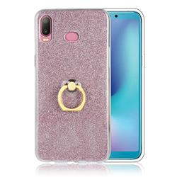Luxury Soft TPU Glitter Back Ring Cover with 360 Rotate Finger Holder Buckle for Samsung Galaxy A6s - Pink